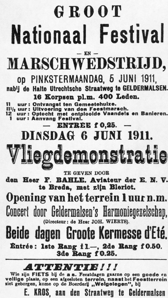 Aankondiging vliegdemonstratie Geldermalsen (De Geldermalsener, 31 mei 1911).
