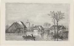 RP-P-OB-55.853_Overstroming bij Beesd, 1855, Willem Gruyter (Jr.), Mari ten Kate, 1832 - 1880