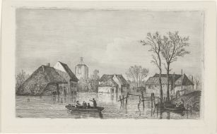 RP-P-OB-55.853_Overstroming bij Beesd, 1855, Willem Gruyter (Jr.), Mari ten Kate, 1832 - 1880