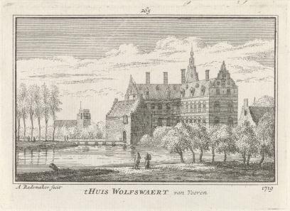 RP-P-OB-73.618_Huis Wolfswaard, Abraham Rademaker, Willem Barents, Antoni Schoonenburg, 1727 - 1733