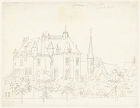 RP-T-1888-A-1689_Het kasteel te Gellicum, Gelderland, Cornelis Pronk, 1731