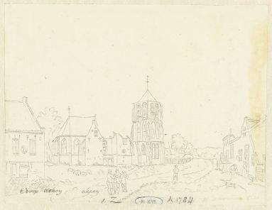 RP-T-1888-A-1784(V)_De kerk in het dorp Acquoy, Hermanus Petrus Schouten, 1757 - 1822