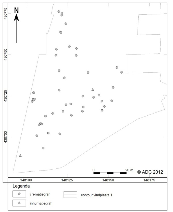 Afbeelding 1: de ligging van de gevonden graven in Meteren