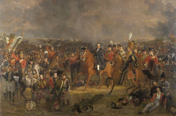 De Slag bij Waterloo, Jan Willem Pieneman, 1824 De hertog van Wellington krijgt hier het bericht dat de Pruisische troepen te hulp komen. In dit groepsportret van de hoofdrolspelers staat Wellington, bevelhebber van de Brits-Nederlandse troepen, centraal. Linksvoor ligt de Nederlandse kroonprins, de latere Willem II, gewond op een brancard. Het schilderij was aanvankelijk bedoeld voor Wellington. Maar toen Willem I het zag kocht hij het voor zijn zoon. Zo bleef het schilderij behouden voor Nederland. Ook baron Chassé is op dit schilderij afgebeeld. Collectie Rijks Museum Amsterdam