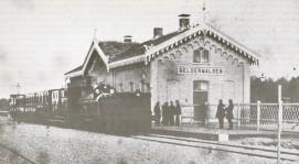 Het oorspronkelijke station van Geldermalsen, zoals het er stond van 1867 tot 1884. Verzameling Wim van den Bosch.