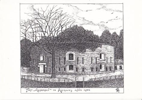 Pentekening Fort Asperen te Acquoy anno 1986
